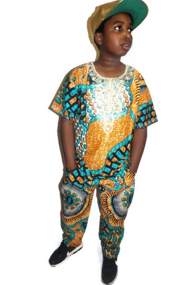Ankara wax print embroidered shirt