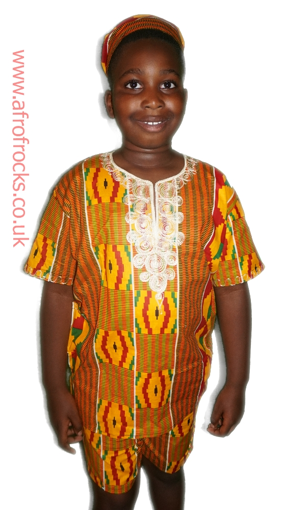 3 piece kente embroidered shorts set