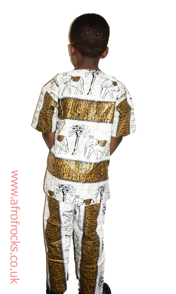 Elephant n tree African print trouser set