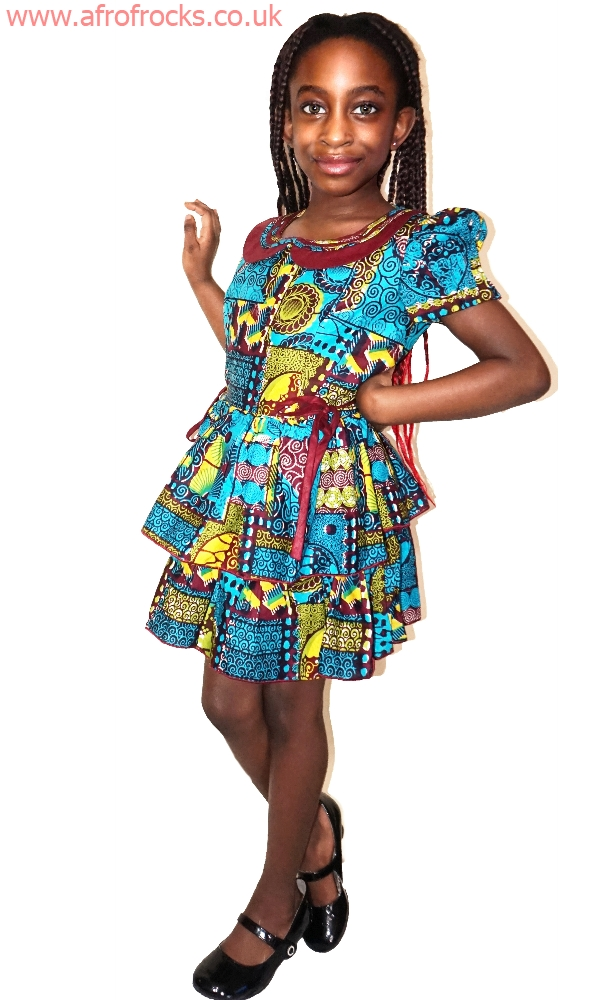 Ankara wax girls 3 sisters dress