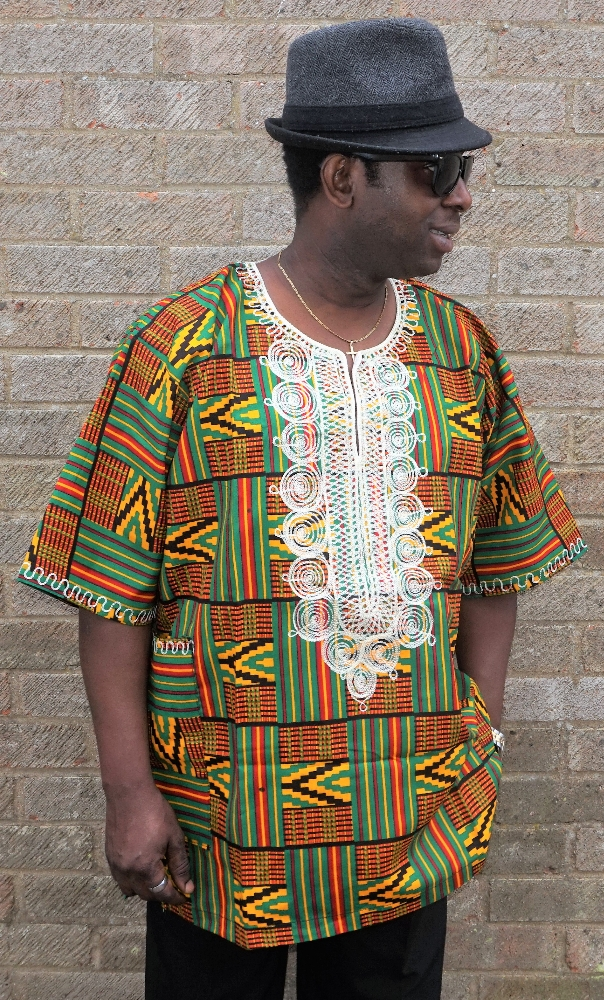 Greeny kente print embroidered shirt