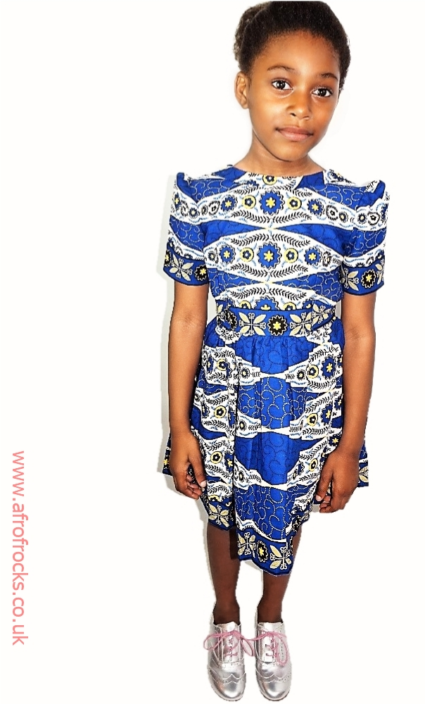 Back-front Ankara wax print dress for girls