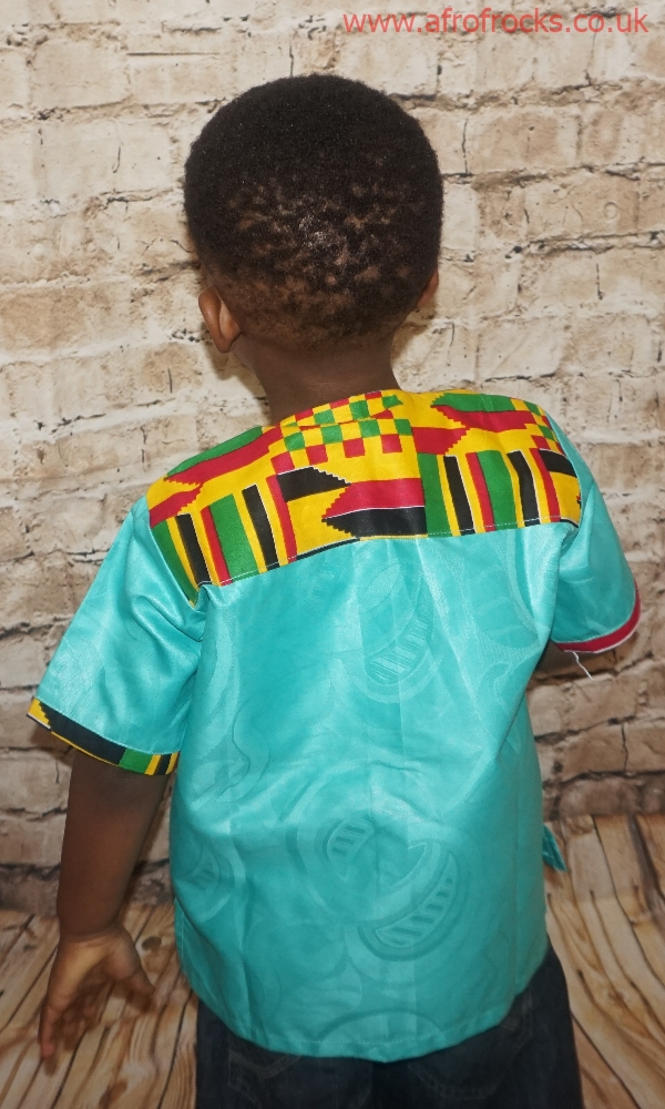 Green and kente combi shirt
