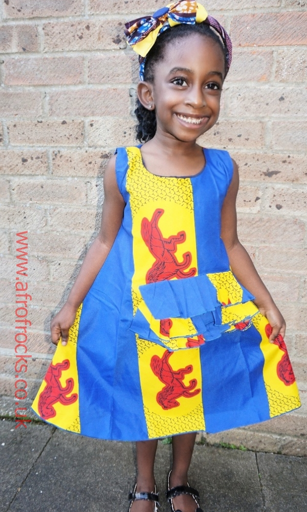 Red horse African print sleeveless dress