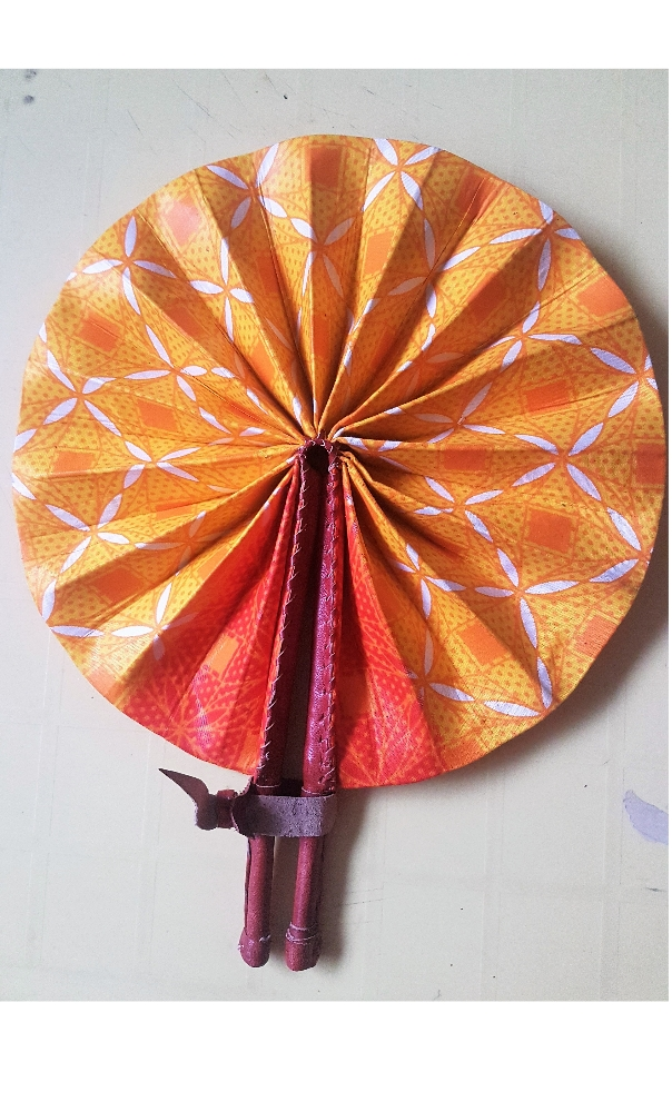 African print leather fan