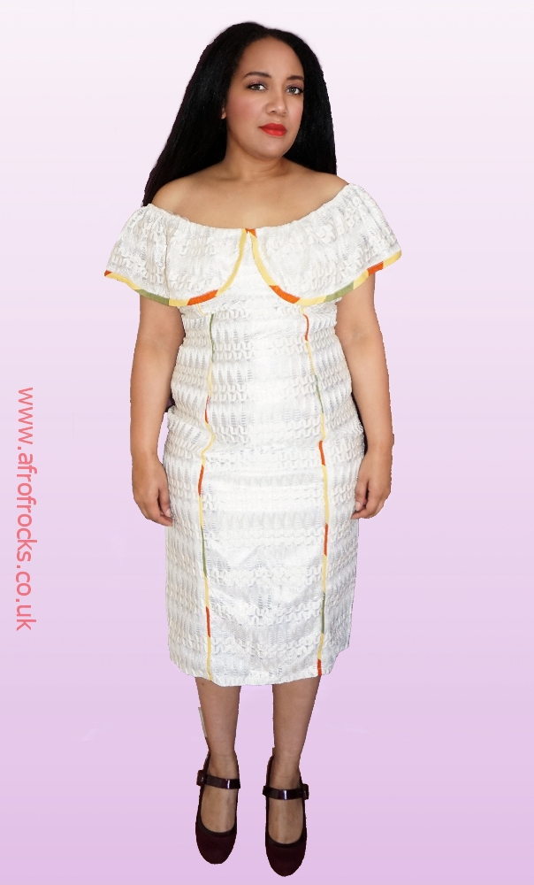 Off-shoulder lace and kente combi dress