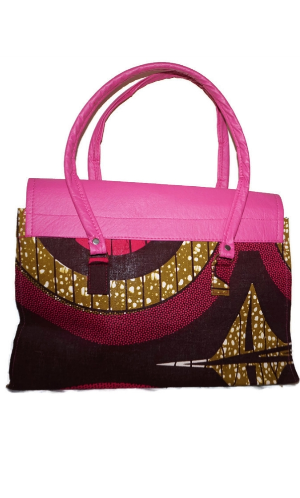 African print and pink leatherette tote bag