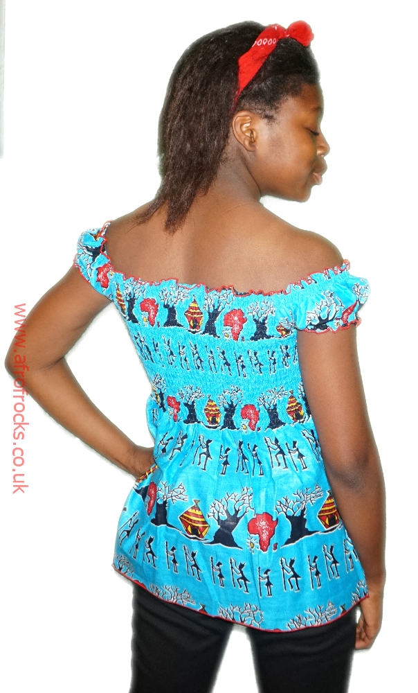 Blue African village print shirred top