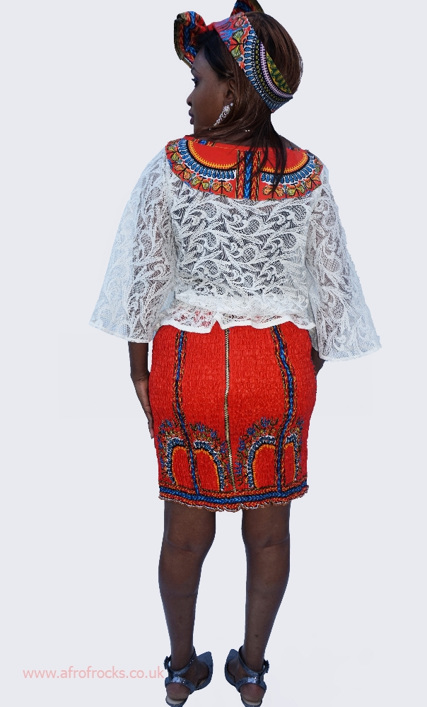 Lace and orange dashiki skirt set