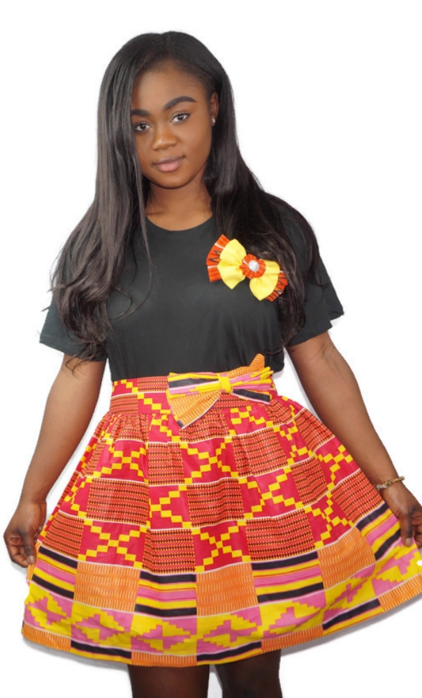 Kente print bow mini skirt