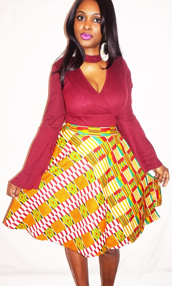 Kente print wrap skirt