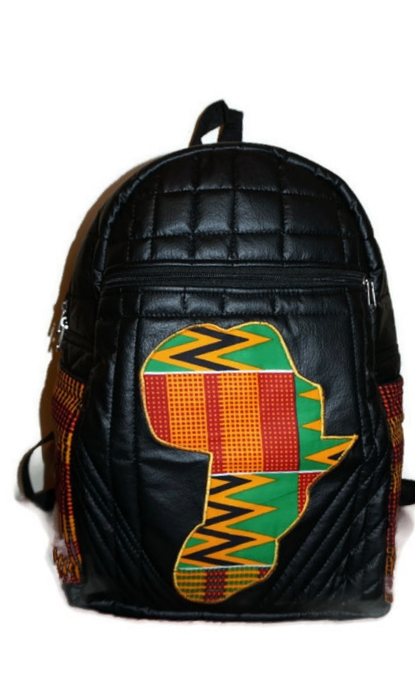 Leather kente backpack