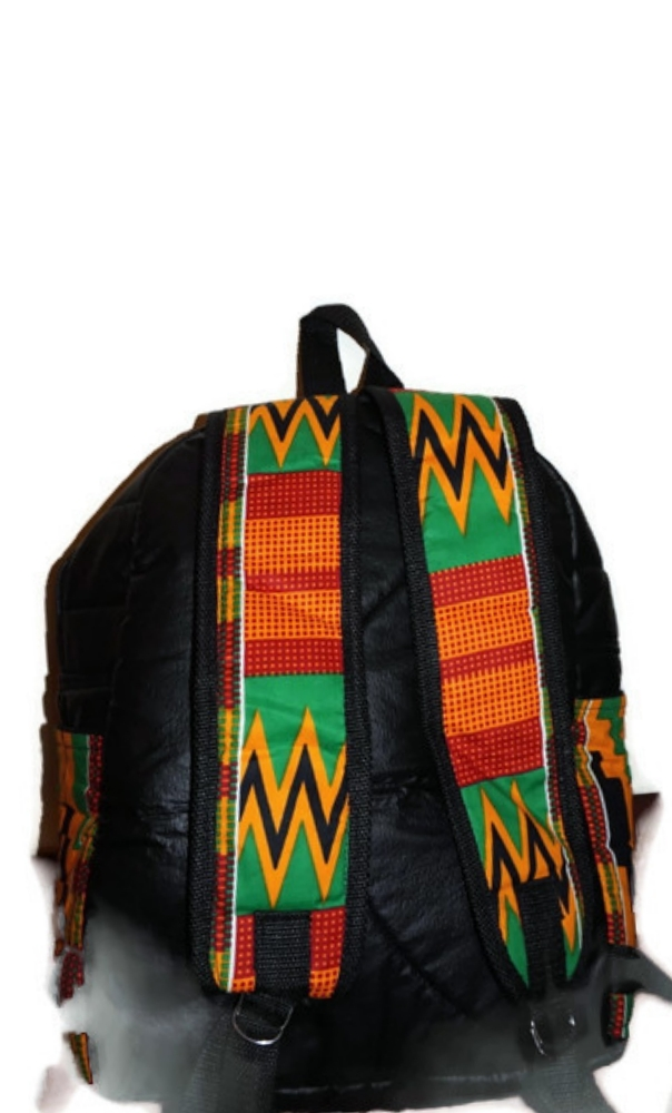Medium size black leatherette and kente print African symbol backpack