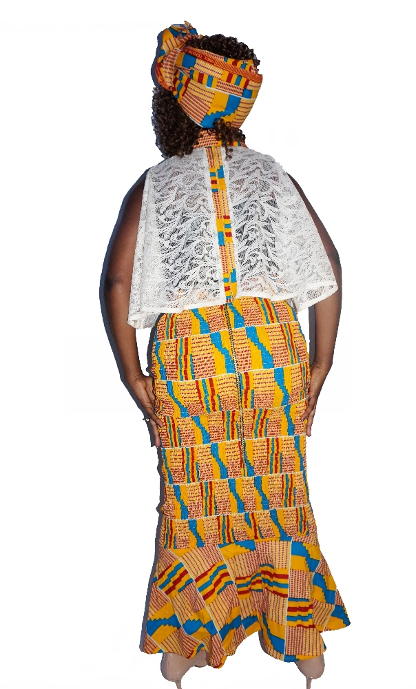 kente lace and shirred mermaid skirt