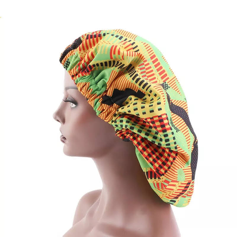 Extra Large Kente Satin Lined Bonnet