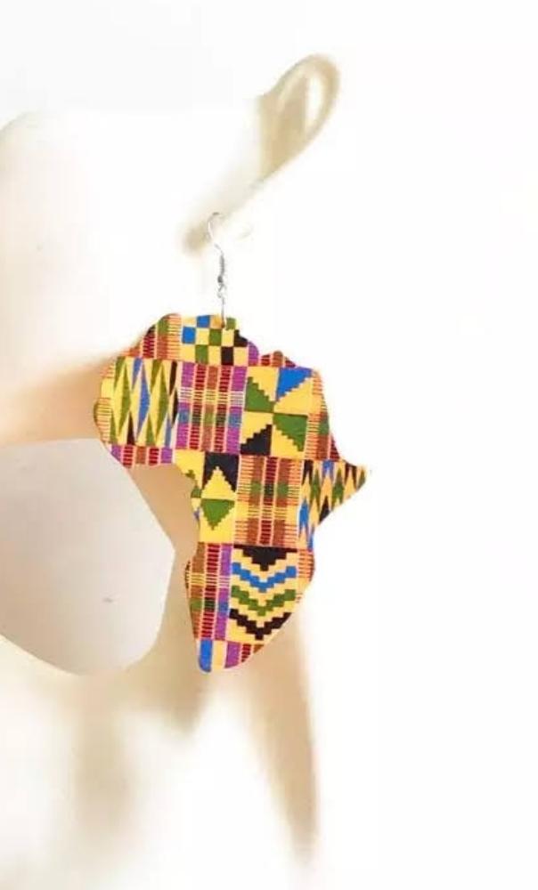 kente africa map earrings
