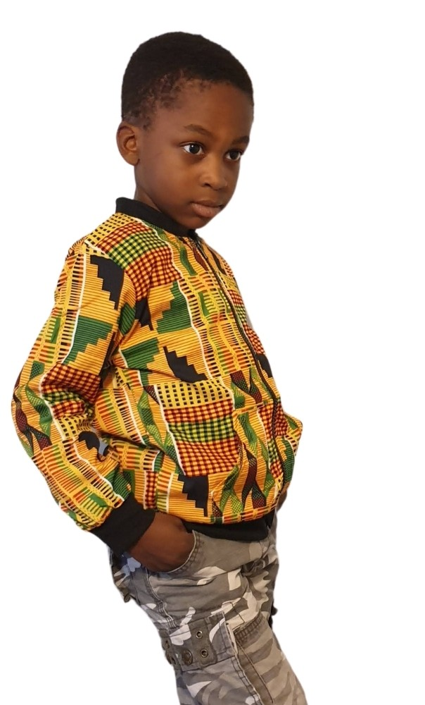 Kids unisex kente bomber jacket