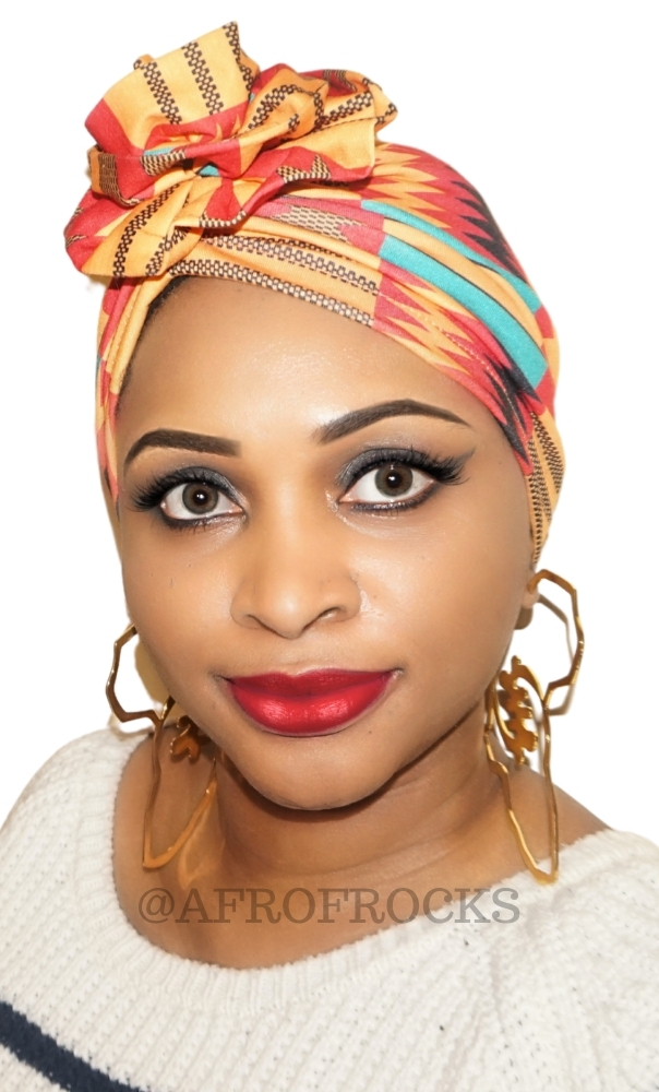 kente flower turban