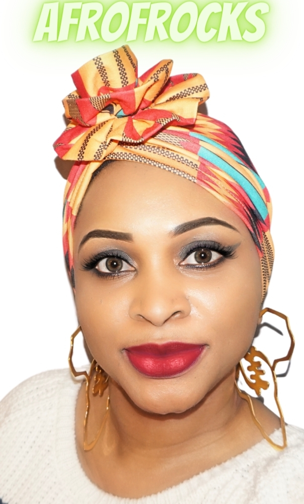 Kente style print blooming flower turban cap
