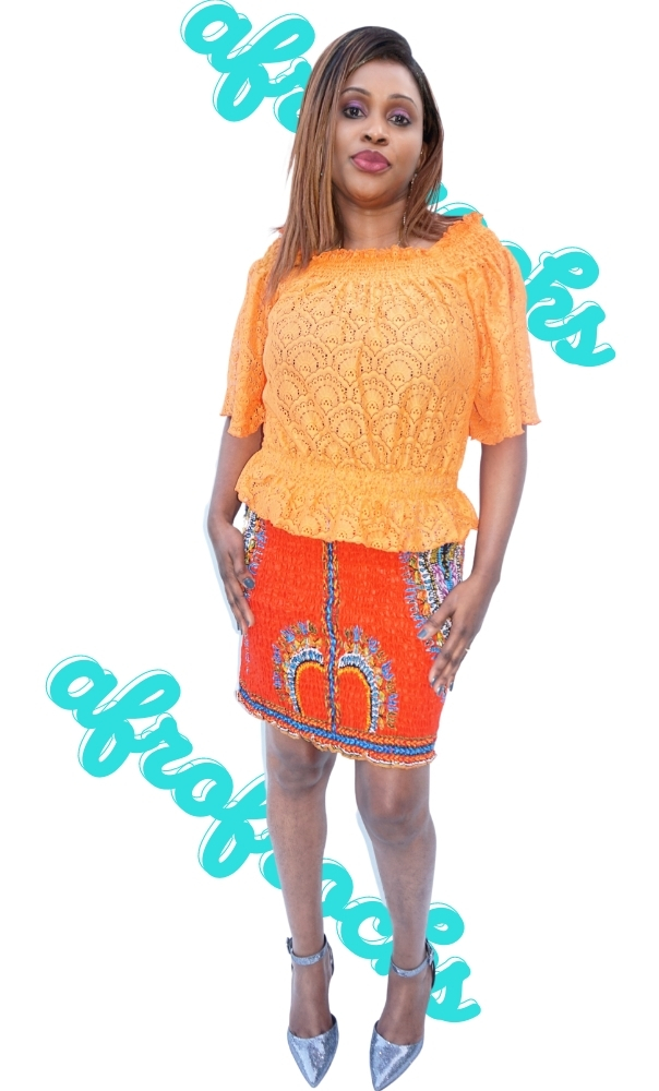3 piece orange dashiki skirt and lace combi