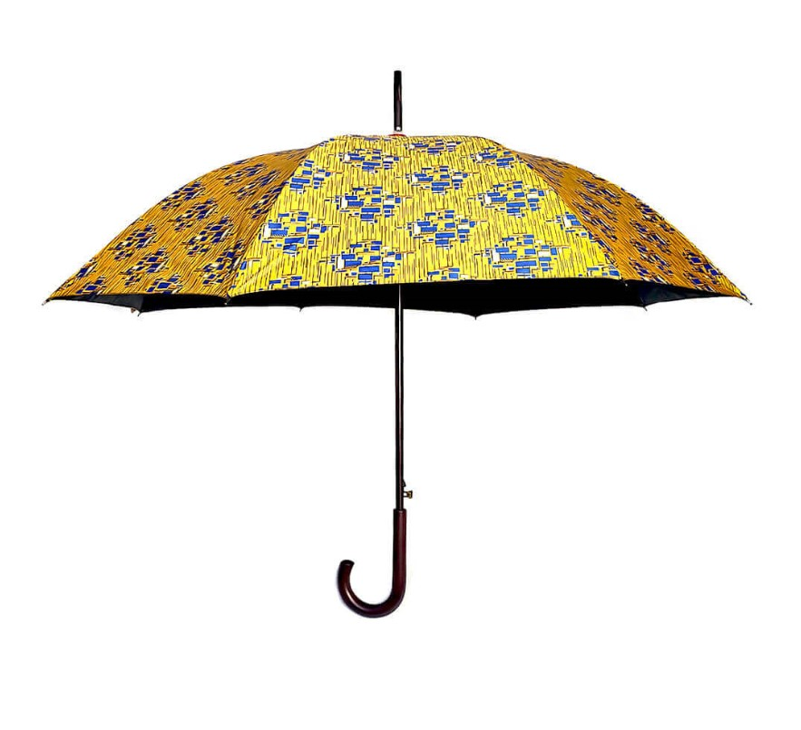 Large African print Windproof UV  Umbrella with Black Coating