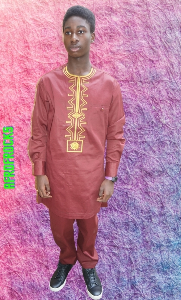 Maroon African style embroidered Senator modern traditional wear