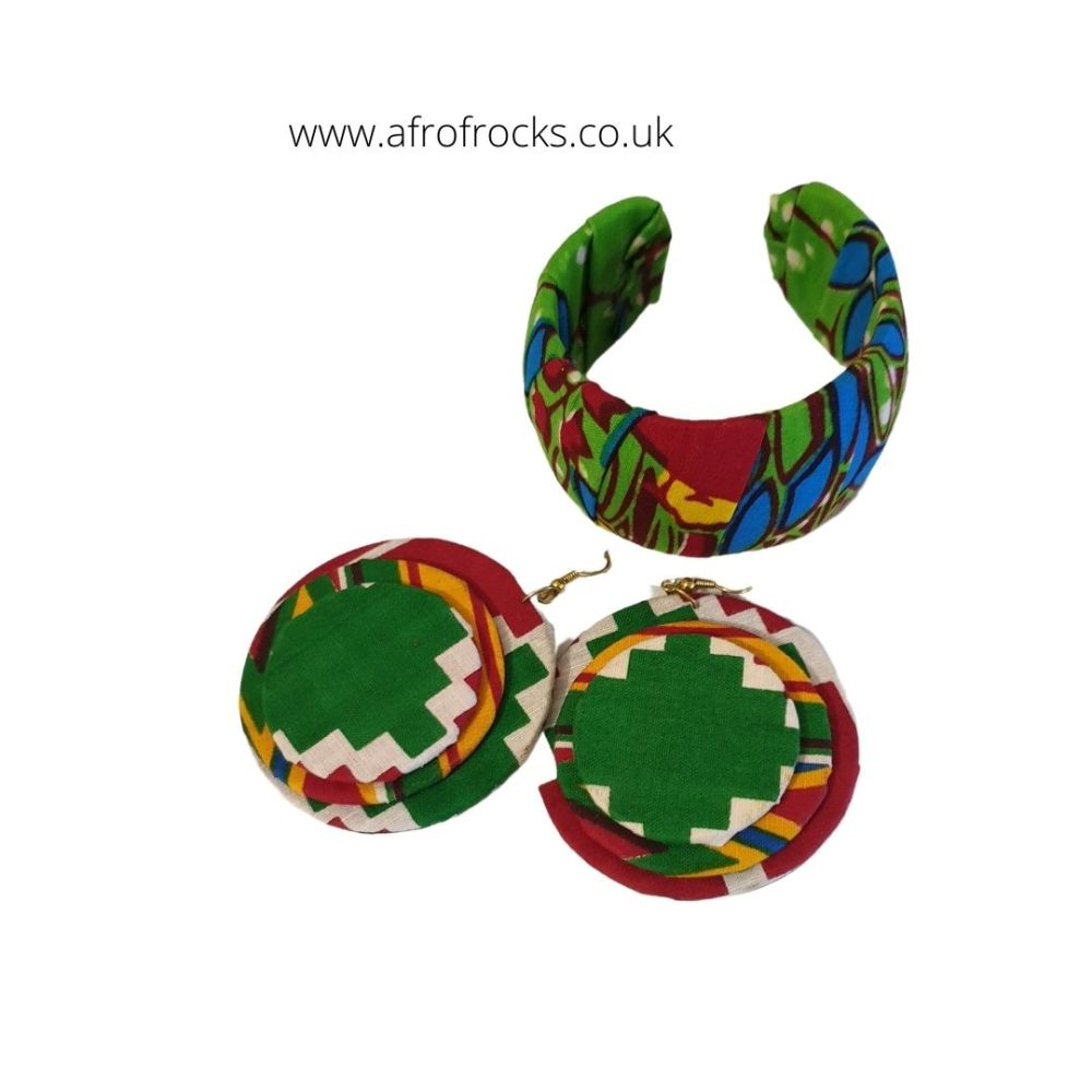 African print bangle bracelet and earrings set