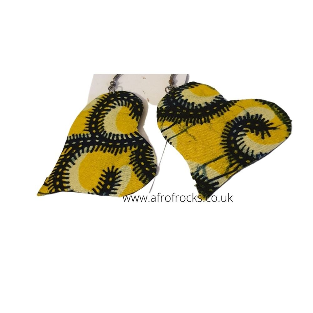 Love heart shaped African print dangling earrings