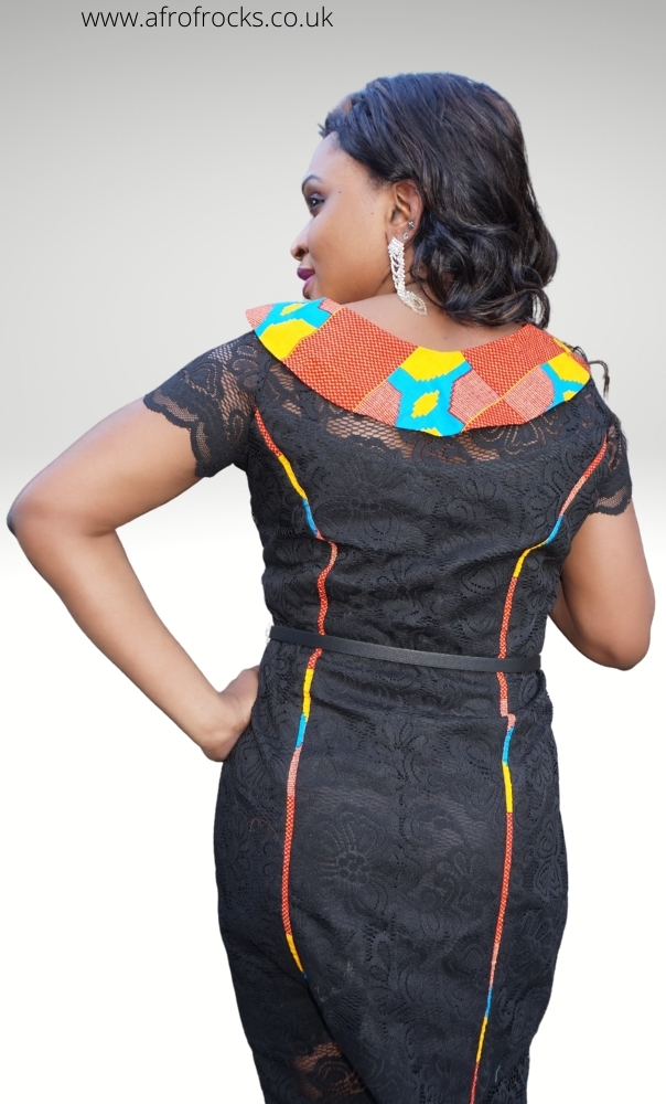 Black lace and Kente combination dress