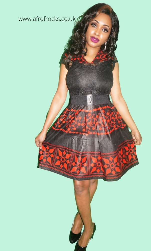 Black and Red Print Lace combi dress