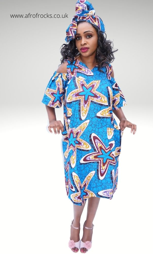 African Print Starfish Cold-shoulder Dress