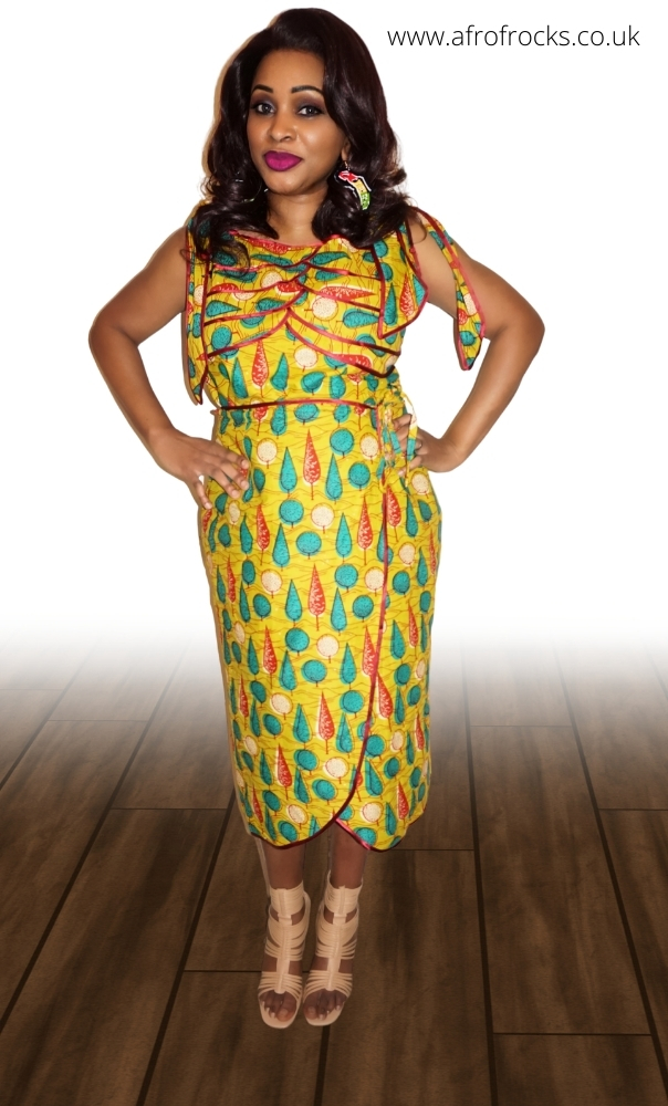 African Print Shoulder Tie Top And Wrap Skirt Set