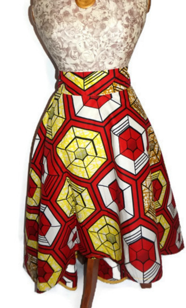 African Print High-Low Skirt