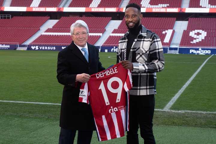 Atletico Madrid unveils Moussa Dembele following his loan switch from Lyon; hand him Diego Costa