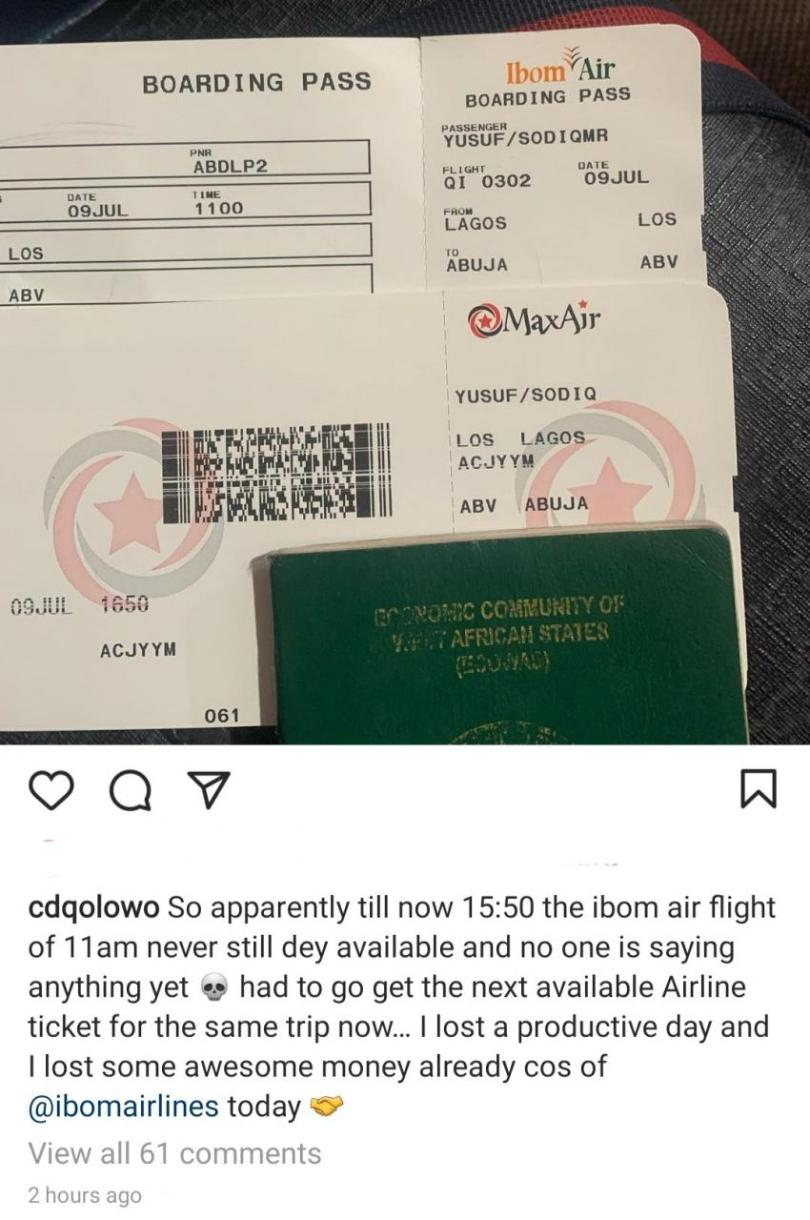 Rapper CDQ Laments About Flight Delay For Over 4 Hours