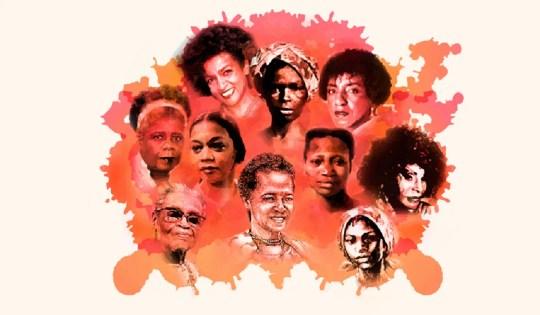 Imagem de celebração do Dia da Mulher Negra com ilustrações de Conceição Evaristo, Elza Soares, Tereza de Benguela, Dandara de Palmares e outras.