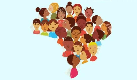 Ilustração do mapa do Brasil com rostos diversos de várias etnias, tipos de cabelo etc.