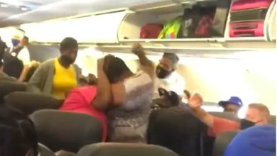 Photo of Fight breaks out in a flight as passengers argue over face masks
