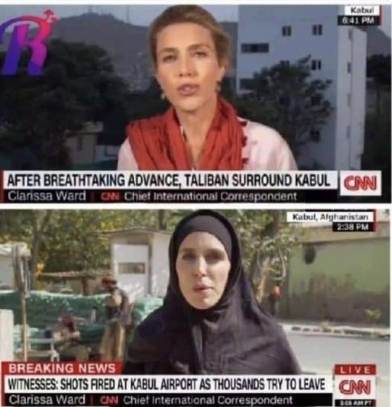 Une journaliste de CNN contraint de porter le hijab après la chute de Kaboul aux mains des talibans (photos)