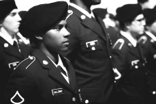 Private Galloway, U.S. Army, standing in formation.