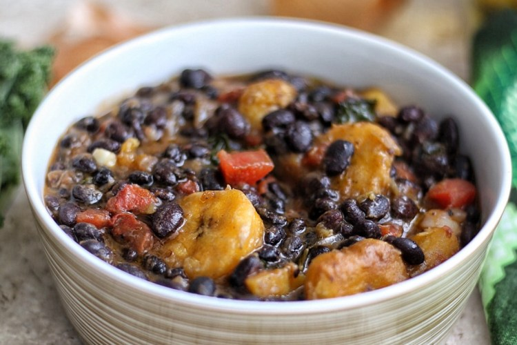 Black beans and plantain stew