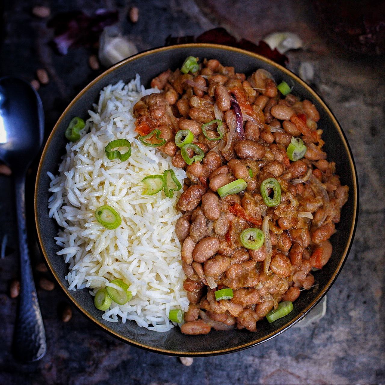 African stewed beans with rice
