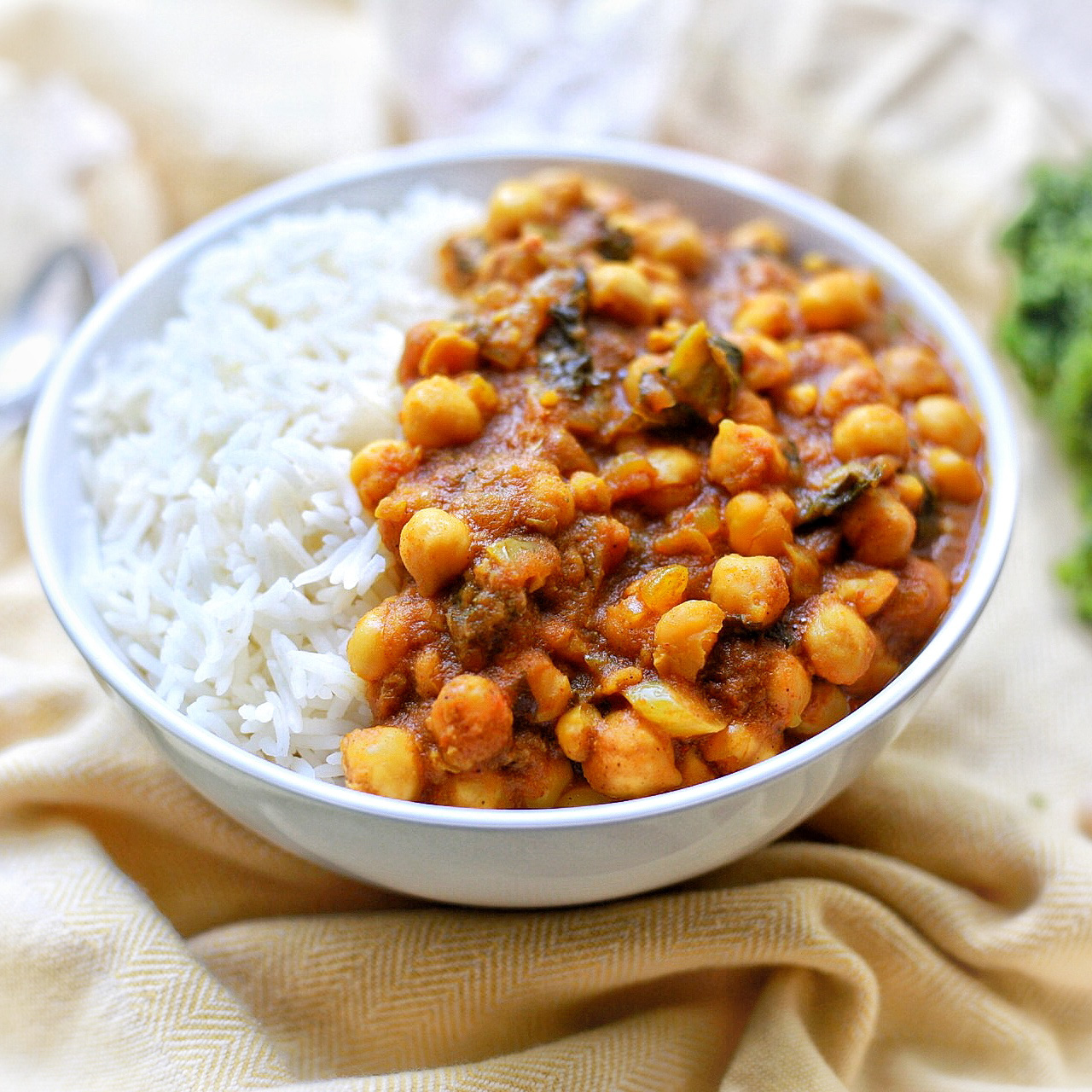 Spicy Caribbean Chickpea Curry with basmati rice