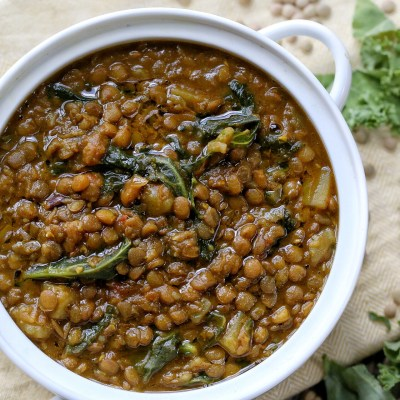 Spicy potato Lentil soup with Kale