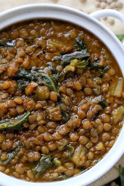 Spicy potato Lentil soup with Kale