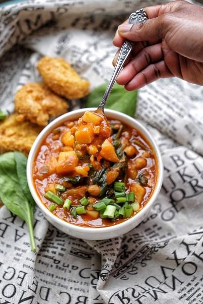 Dutch Oven Caribbean chickpea potato curry