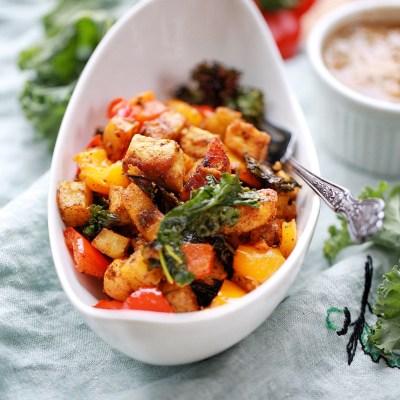 Cuban style Sweet potatoes plantain and tofu bake