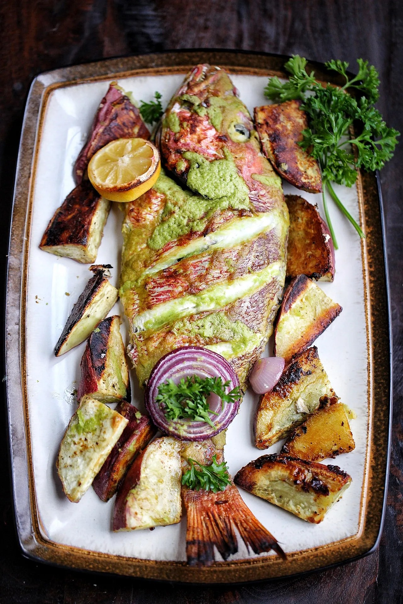 Baked whole red snapper