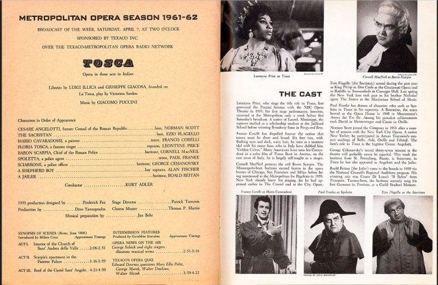 Program from Met Opera Broadcast of Tosca
