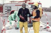 Mike Hillier, right, and Andy Gover training for Chemical Incident. Photo Lyn Lloyd